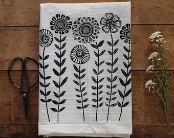 Sunflower Dish Towel - mother's day gift - handprinted kitchen botanical cotton flour sack tea towel natural eco homeware handmade floral