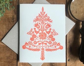 Swedish folk art letterpress Christmas card - tree, decorative, design Christmas, holiday, red and white, nature inspired, blank art card