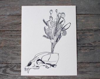 Bear Skull Flowers Letterpress art print - animal, desert, bohemian, floral, native, handmade art, witch woodland apothecary naturalist