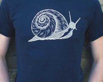 Snail Unisex Black T-shirt - graphic tee, vintage black, spiral, nature shirt, handmade simple tees, gym workout shirt, men's tshirt, slow