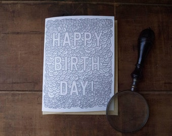 Happy Birthday Letterpress scallops cloud card - color yourself, coloring book, simple birthday handmade card