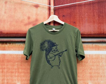 Banjo Squirrel shirt, graphic tee, quirky tshirt animal bluegrass gift for dad, funny musician music nature hipster