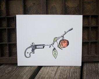 Gun Apple Illustration Letterpress Watercolor Poster art print, tree branch, wall art, gallery wall print