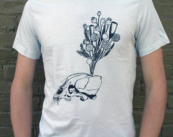 Animal Skull T shirt Light grey silver, Unisex Canvas Cotton Shirt, Bear dried flowers, desert witch bohemian rustic screenprinted floral