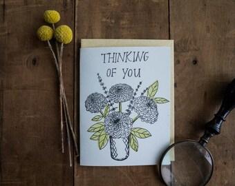 Thinking of You Card - letterpress handmade sympathy encouragement card - floral flower vase - blank greeting card - letter press