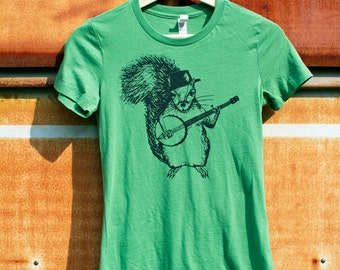 Squirrel Banjo Green Ladies Shirt, Women's Leaf Green fitted t-shirt, country workout shirt, graphic tee, slim fit funny