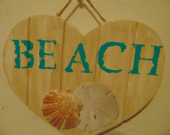 Heart Shaped Distressed Beach Plaque