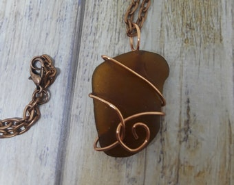 "1"" Brown Wire Wrapped Sea Glass Pendant"