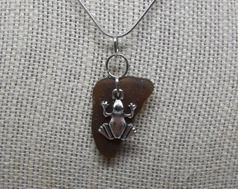 Brown Sea Glass Pendant, with Frog Charm