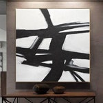 Black and white minimalist abstract painting large geometric modern artwork on canvas square oil painting by L.Beiboer