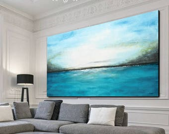 Large original abstract landscape painting panoramic art blue white modern abstract painting oil framed artwork by L.Beiboer
