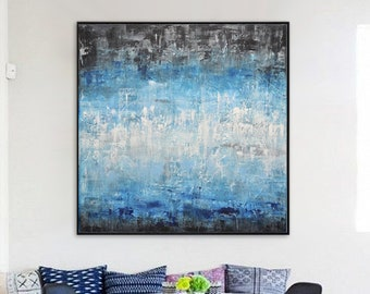 Original abstract painting large art 36 x 36 square abstract oil painting wall art blue contemporary modern art black white by L.Beiboer