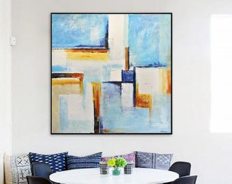 Original abstract painting original large 36 x 36 square wall art abstract art oil painting blue white modern art artwork by L.Beiboer