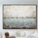 Landscape Artwork Framed Original Wall Art Large Contemporary Umber Brown Abstract Painting Modern Design Textured Hand Painted by L.Beiboer