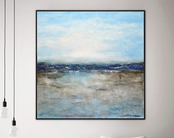 Landscape painting original large painting square abstract oil painting ocean blue seascape modern art by L.Beiboer