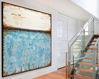 Original Large Square Abstract Painting white blue Contemporary Art Modern Acrylic Turquoise Painting by L.Beiboer