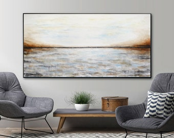 Massive abstract painting large blue gray brown modern abstract contemporary landscape painting oil large artwork wall art