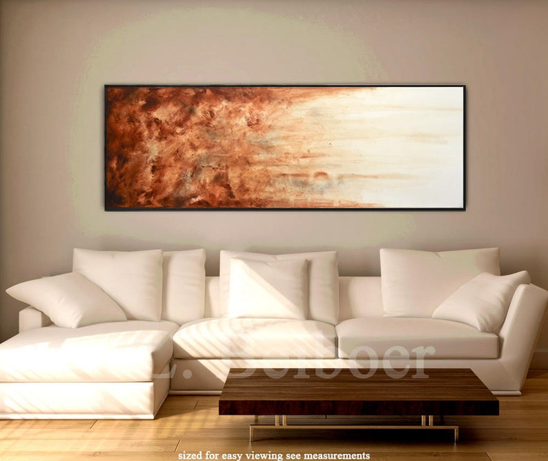 Large art original abstract painting panoramic art big brown image 0