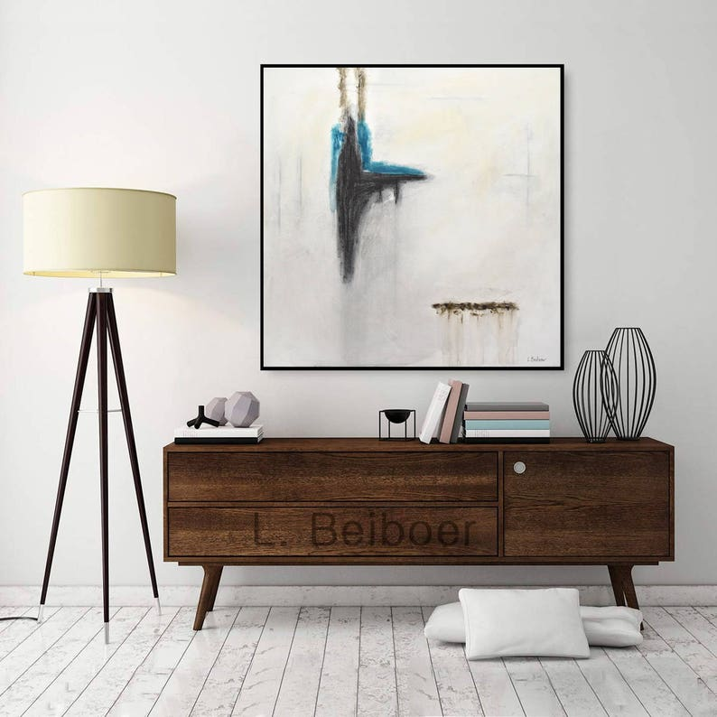 Abstract painting original square large painting gray yellow image 0