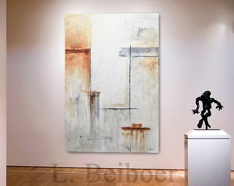 Large art modern abstract painting 40 x 60 contemporary oil fine art canvas white umber abstract oil painting by L. Beiboer