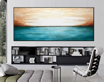 xxl landscape Painting Original large abstract ocean painting landscape art blue gray seascape oil painting artwork wall art by L. Beiboer