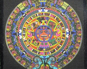 Printed Patch AZTEC CALENDAR Sew On -Jacket,Backpack Mayan Calendar small