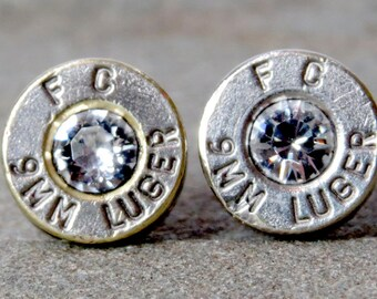 Swarovski Bullet Stud Earrings, Clear Diamond, Bullet Shell Casing Jewelry, Federal 9MM, Nickel Plated, Removed Primer, Surgical Steel Posts
