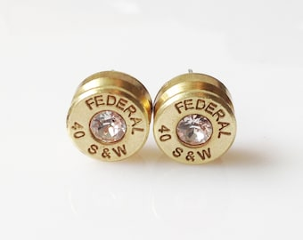 40 Caliber Smith and Wesson Federal Brand Bullet Shell Casing Earrings