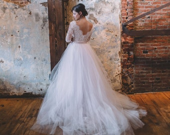 Wedding Separate - Vivianne Bodysuit - V Neck Wedding Dress - Classic Wedding Dress - Long Sleeve Wedding Dress - Lace Wedding Dress