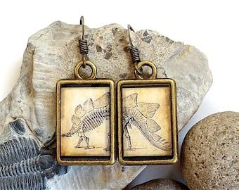 Dinosaur Earrings - Stegosaurus - DOUBLE-SIDED Dino Dangle in Brass