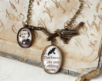 Edgar Allan Poe Necklace - The Raven Quote - Poe Jewelry in Bronze