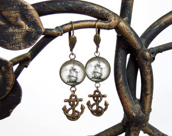 Pirate Ship Earrings with Anchor - Antique Nautical Print Dangle Earrings in Brass - Pirate Jewelry