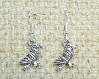 SALE - Raven Earrings - Crow Dangle Earrings in Silver
