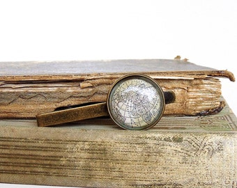 Globe Tie Clip / Tie Bar / Tie Tack in Bronze - Earth