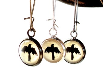 Crow Earrings - Black Crow Raven Dangle Earrings