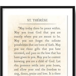 St. Therese Quote Print, Saint Therese Quote Literary Art Print, May Today There be Peace, Book Page Art Print, Inspirational Quote Unframed