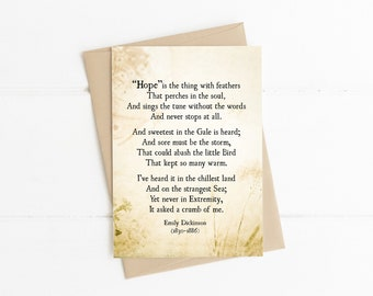 Hope Poem by Emily Dickinson, Hope is the Thing with Feathers, Encouragement Inspirational Card, Thinking of You Card, Poetry Art