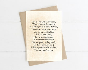 Nurse's Prayer Note Card, Card for a Nurse, Nurse Prayer Art Print, Medical Profession Gift Note Card, Hospital Wall Art