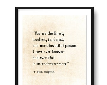 F Scott Fitzgerald Quote Print She Was Beautiful Fitzgerald Etsy