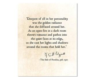 F Scott Fitzgerald Print, Valentines Day Gift, Literary Print, Fitzgerald Wall Art, Romantic Love Quote, Fitzgerald Quote, Literature Print