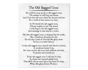 Old Rugged Cross Hymn Lyrics, Christian Art Print, Farmhouse Christian Decor, Scripture Wall Art, Inspirational Song Wall Art, Religious Art