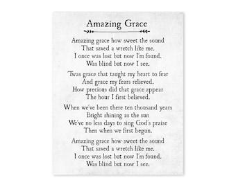 image relating to Amazing Grace Lyrics Printable known as Incredible Grace Lyrics Print Christian Wall Artwork Unbelievable Grace