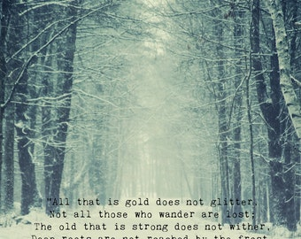 Not All Who Wander Quote Print Tolkien Quote Snowy Woods Etsy