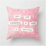 Velveteen Pillow Cover, Pink Pillow, Inspiring Words Pink Paisley Girly Decor Love Typography Inspirational Quote, Bedroom Decor