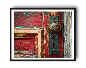 Red Door Photo, Rustic Door Art Print, Portsmouth New Hampshire NH Print, Modern Farmhouse Print, Door Photo, Office Art, Architecture Print