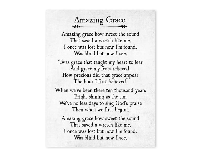 photograph about Amazing Grace Lyrics Printable known as Extraordinary Grace Print - Christian Wall Artwork - Unbelievable Grace Wall Artwork - Farmhouse Decor - Housewarming Reward - Substantial Wall Artwork - Unframed