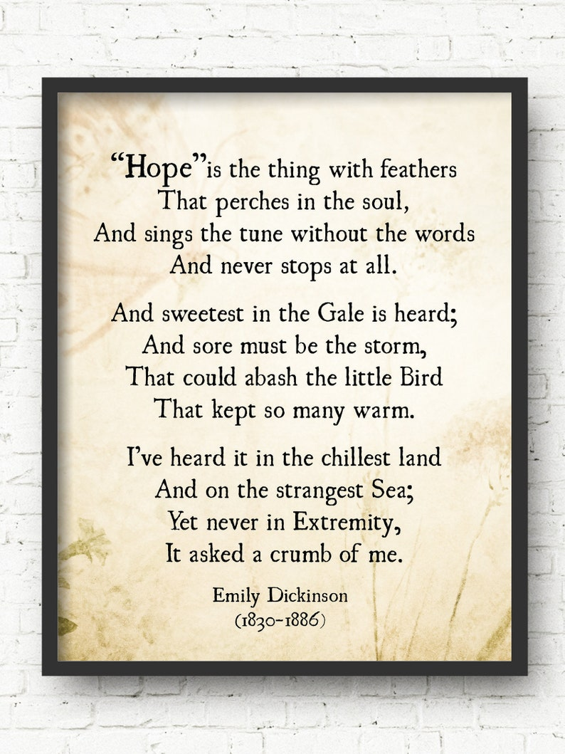 Emily Dickinson Hope Is The Thing With Feathers Poem Emily Etsy