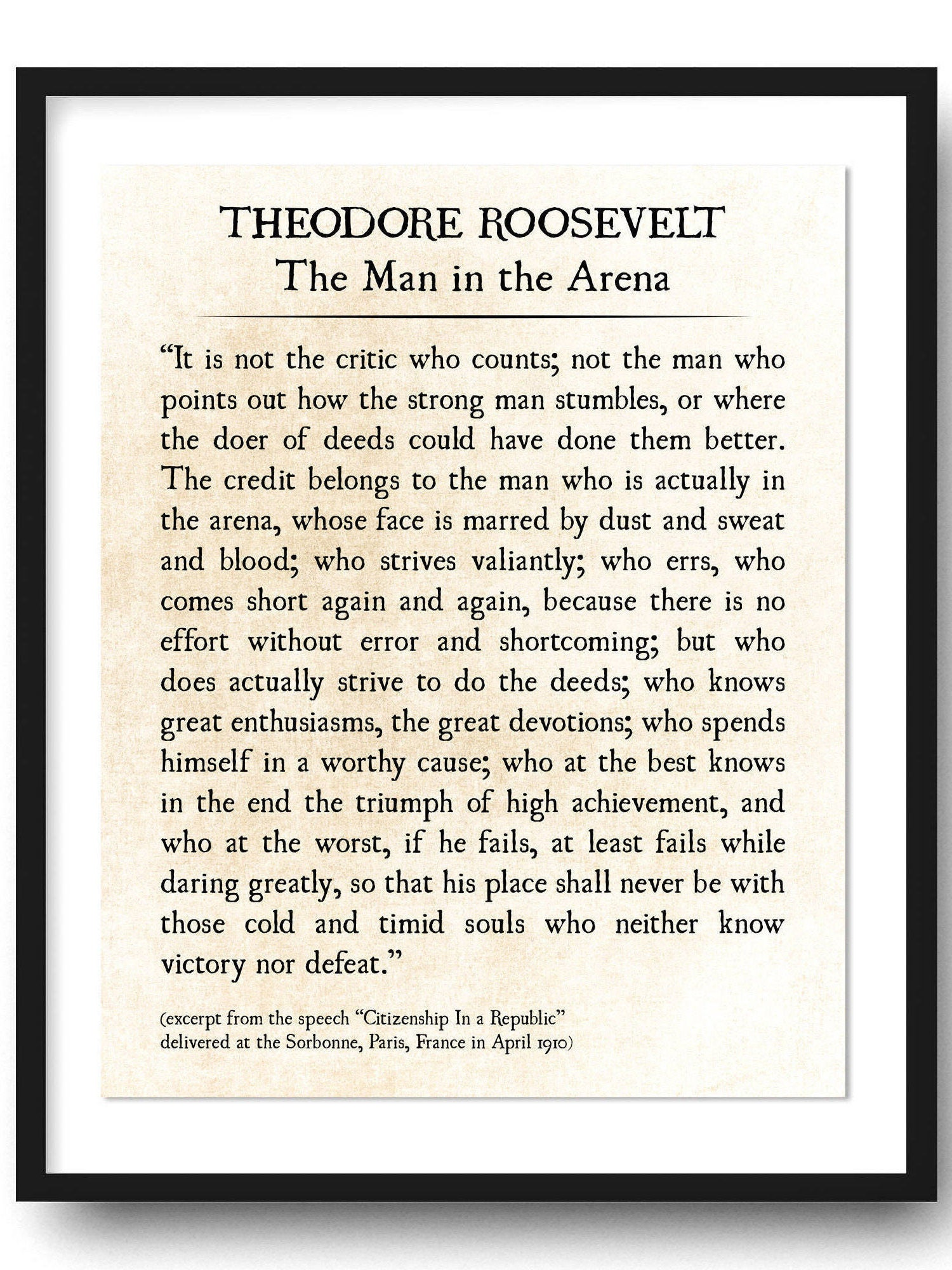 graphic about Man in the Arena Free Printable referred to as Gentleman within the Arena, Theodore Roosevelt Estimate Print, Commencement Reward, Reserve Site Print, Grad Reward, Inspirational Quotation, Business Wall Artwork Unframed