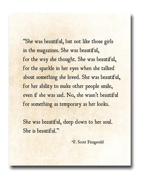 F Scott Fitzgerald Quote Print She Was Beautiful Fitzgerald Etsy Magnificent Beautiful Quote