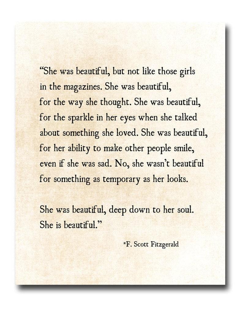 fe7a1f3c F. Scott Fitzgerald Quote Print She Was Beautiful Fitzgerald | Etsy